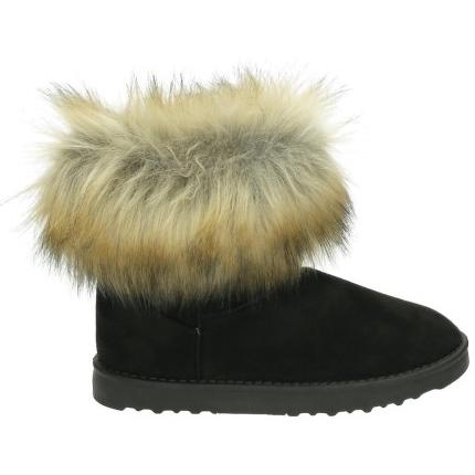6aa8176a280 Sort Støvle - Sort bamsestøvle med pels kant - ShoeFactory.dk
